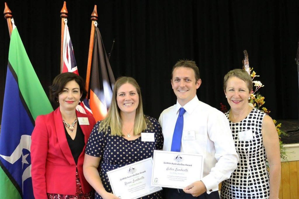 SMF founders Renee and Aidan receiving their award from Terri Butler MP for Griffith and Di Farmer Member for Bulimba.